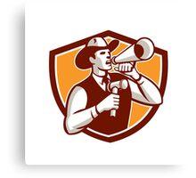 Cowboy Auctioneer Bullhorn Gavel Shield Canvas Print