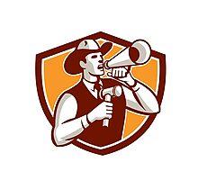 Cowboy Auctioneer Bullhorn Gavel Shield Photographic Print