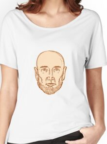 Male Bald Head Bearded Etching Women's Relaxed Fit T-Shirt