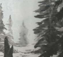 Black and white winter forest Sticker