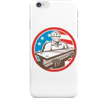 Construction Steel Worker I-Beam USA Flag Circle iPhone Case/Skin