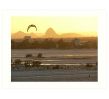 Glass House Mountains at Sunset Art Print