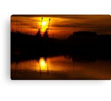 Crane Silhouettes. Canvas Print