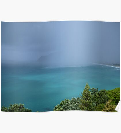 New Zealand Blue Ocean Turquoise Water Green Trees Poster
