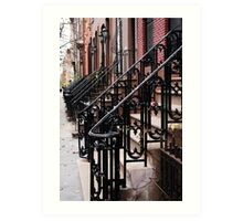 Steps into the Distance, Iron Stair Rails, Manhattan Art Print