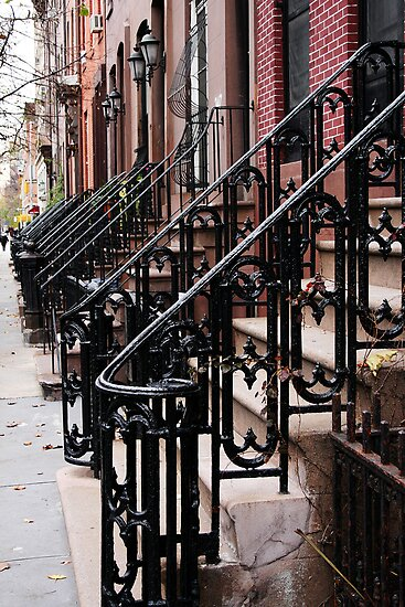 Steps into the Distance, Iron Stair Rails, Manhattan by Jane McDougall