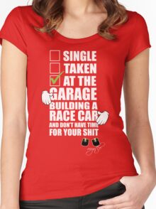 at the Garage building a Race Car Women's Fitted Scoop T-Shirt