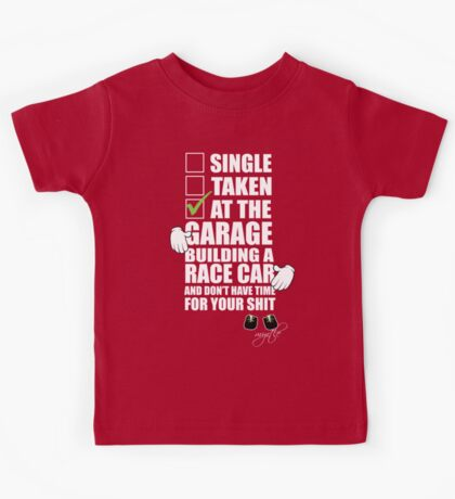 at the Garage building a Race Car Kids Tee