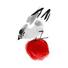 watercolor drawing bird, robin at white background, hand drawn vector illustration by OlgaBerlet