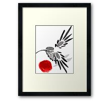 watercolor drawing bird, robin at white background, hand drawn vector illustration Framed Print