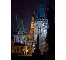Night View of West End of Charles Bridge (Prague) Photographic Print