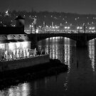 Nightscape from Charles Bridge # 3 (Prague) B&W by ChrisHarvey67