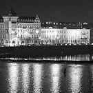 Nightscape from Charles Bridge # 2 (Prague) B&W by ChrisHarvey67