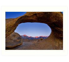 Lone Pine Mountains Painted With Light View through Arch Rock Art Print