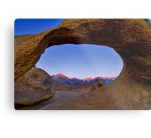 Lone Pine Mountains Painted With Light View through Arch Rock Metal Print