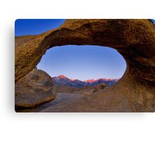 Lone Pine Mountains Painted With Light View through Arch Rock Canvas Print