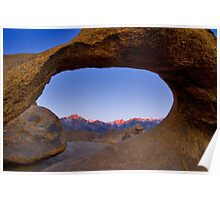 Lone Pine Mountains Painted With Light View through Arch Rock Poster