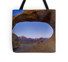 Lone Pine Mountains Painted With Light View through Arch Rock Tote Bag