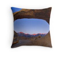 Lone Pine Mountains Painted With Light View through Arch Rock Throw Pillow