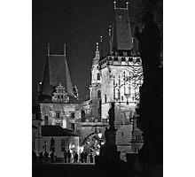 Night View of West End of Charles Bridge (Prague) B&W Photographic Print