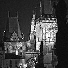 "Night View of West End of Charles Bridge (Prague) ""INK OUTLINES by ChrisHarvey67"