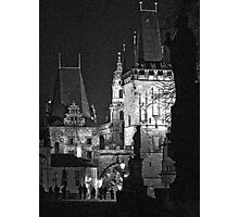 """Night View of West End of Charles Bridge (Prague) """"INK OUTLINES Photographic Print"""