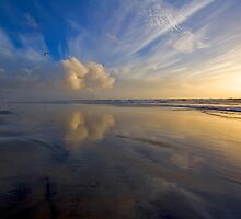 Oceanside Beach Reflections by photosbyflood