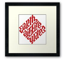 Earth, Air, Fire, Water - Ambigram Framed Print