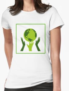 Green Hands Earth. Environment. Womens Fitted T-Shirt