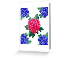 4 Blue for 1 Red Greeting Card
