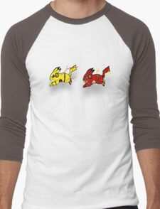 Pika-Flash after Reverse Pika-flash Men's Baseball ¾ T-Shirt