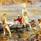 Ruby, Gold and Malachite by Henry Scott Tuke by troycap