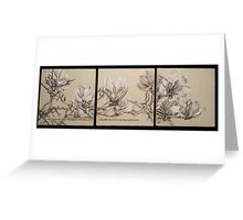 Magnolia Charcoal Drawing Triptych Greeting Card