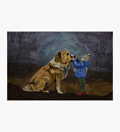 Dog & Child Photographic Print