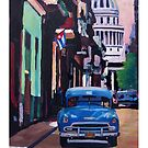 Havana in Cuba  - El Capitolo with oldtimer by artshop77