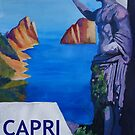 Capri view with Ancient Roman Empire Statue Poster by artshop77