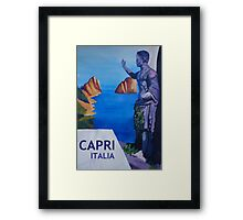 Capri view with Ancient Roman Empire Statue Poster Framed Print