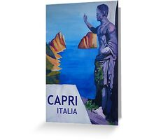 Capri view with Ancient Roman Empire Statue Poster Greeting Card