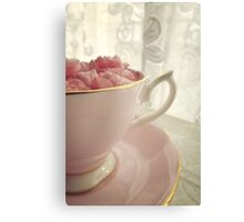 Carnation Petals in Pink China Cup and Saucer Canvas Print