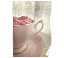 Carnation Petals in Pink China Cup and Saucer Poster