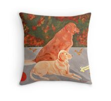 Rocky and Rambo Golden Retrievers Throw Pillow