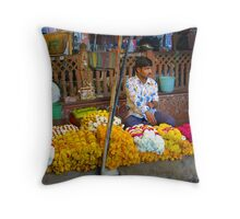 Flower sellers, Jaipur, India Throw Pillow