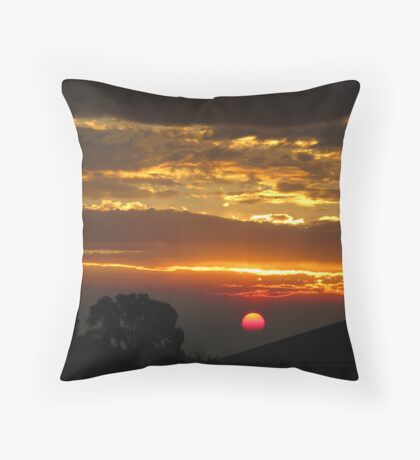 Pink Sun and Golden Clouds Throw Pillow