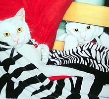 Chloe the cat in duo by Jo Hawkins