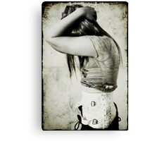 Me & my cursed/beloved, wonderfully erotic yet horribly irritating steel-boned backbrace... Canvas Print