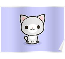 Kawaii grey and white cat Poster