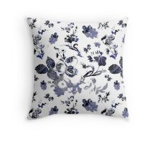 Inked Toile Wild Rose in Blue Throw Pillow