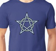 Pentagram Interconnected with Circle in Blue Unisex T-Shirt