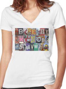 Las Vegas Sign Alphabet Women's Fitted V-Neck T-Shirt