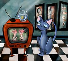Fishing Show is in Re-Run, mid century modern, cat,decor, Alma Lee by Alma Lee